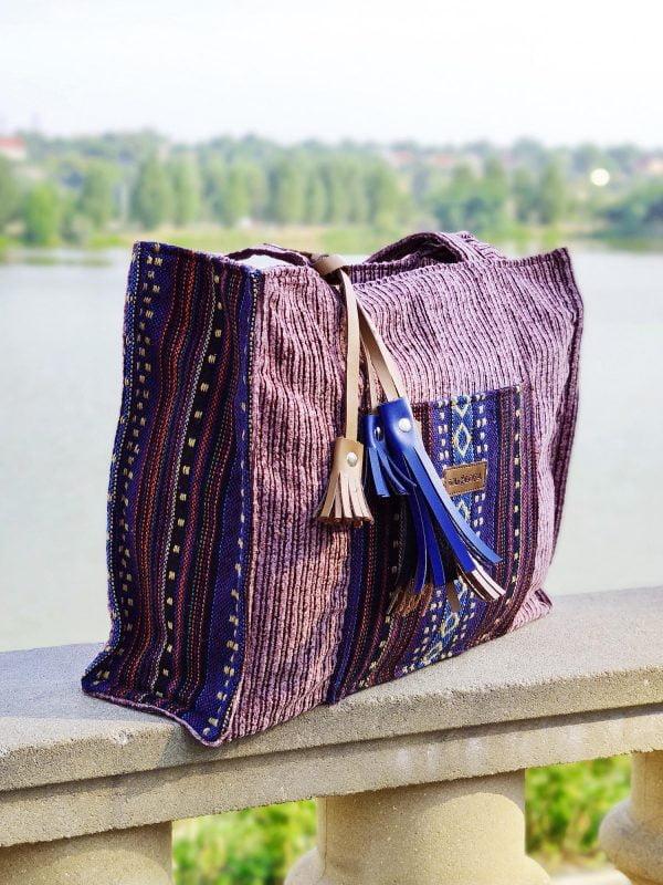 Велика вельветова сумка з гобеленовим декором (26000)