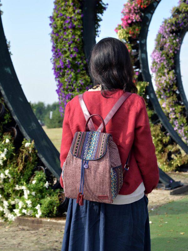 Рюкзак вельветовий бордо великий (15500)