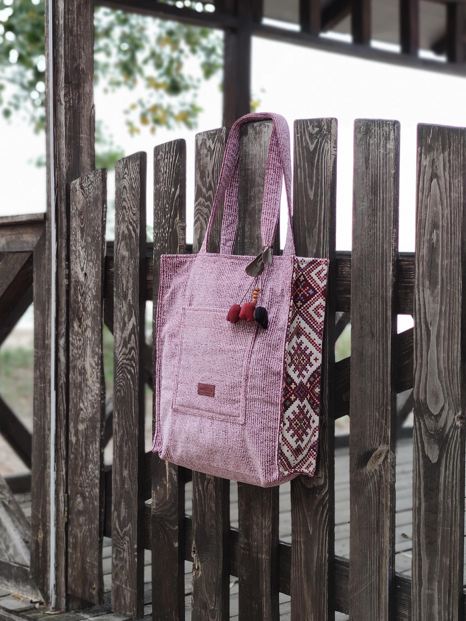 24054 Шопер Рожевий вельвет та орнамент