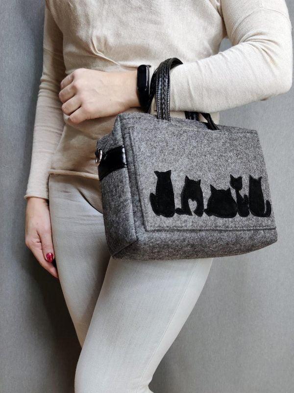 """Фетрова сумка """"Товсті коти"""" (13006)"""