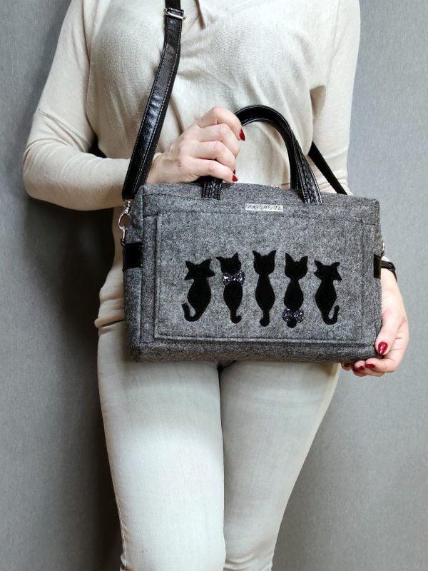 """Фетрова сумка """"Тендітні коти"""" (13007)"""