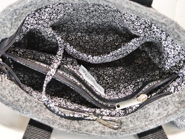 Сумка фетрова сіра з чорними ручками (13010)
