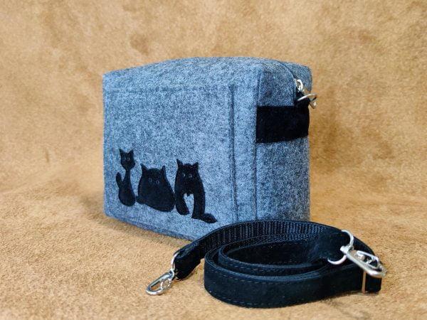 """Фетрова маленька сумка """"Товсті коти"""" (16007)"""