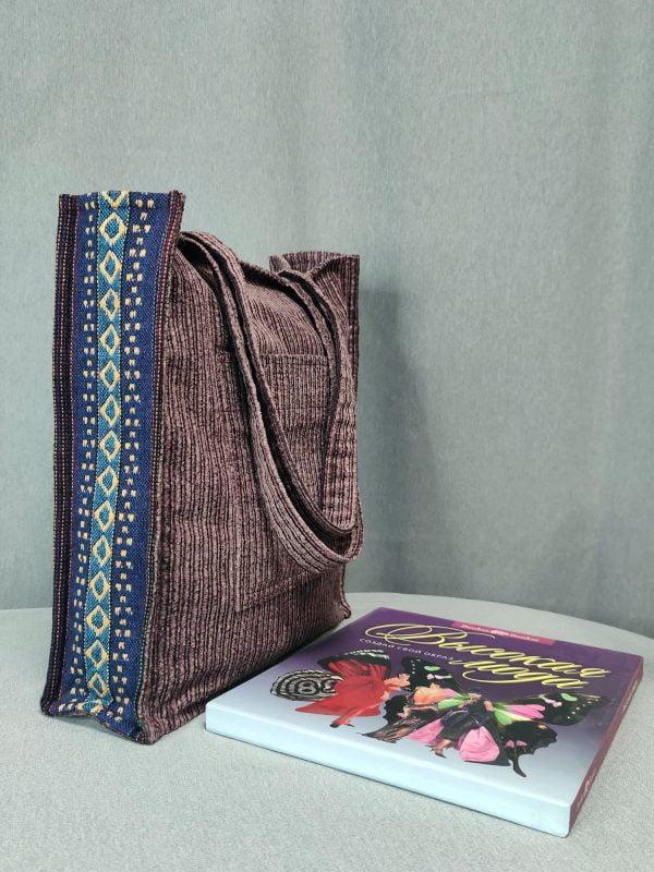 Шопер рожевий вельвет та гобеленовий декор (24067)