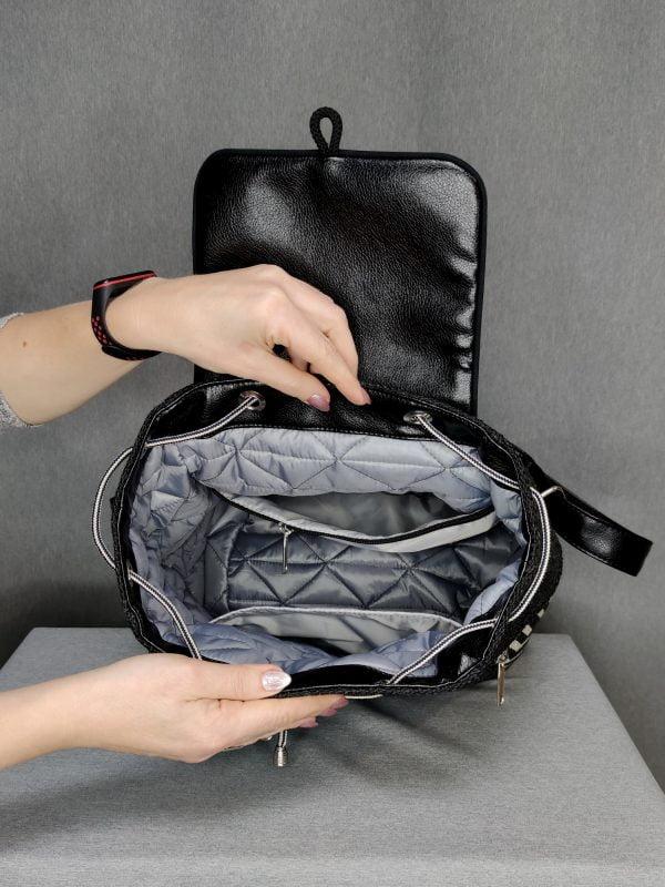 Рюкзак великий чорний з геометричним візерунком (15024)