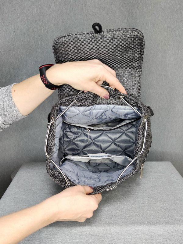 Рюкзак великий сірий з геометричним візерунком (15025)