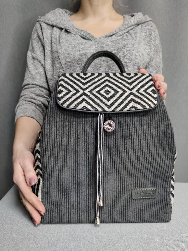 Рюкзак великий вельветовий сірий з геометричним візерунком (15026)
