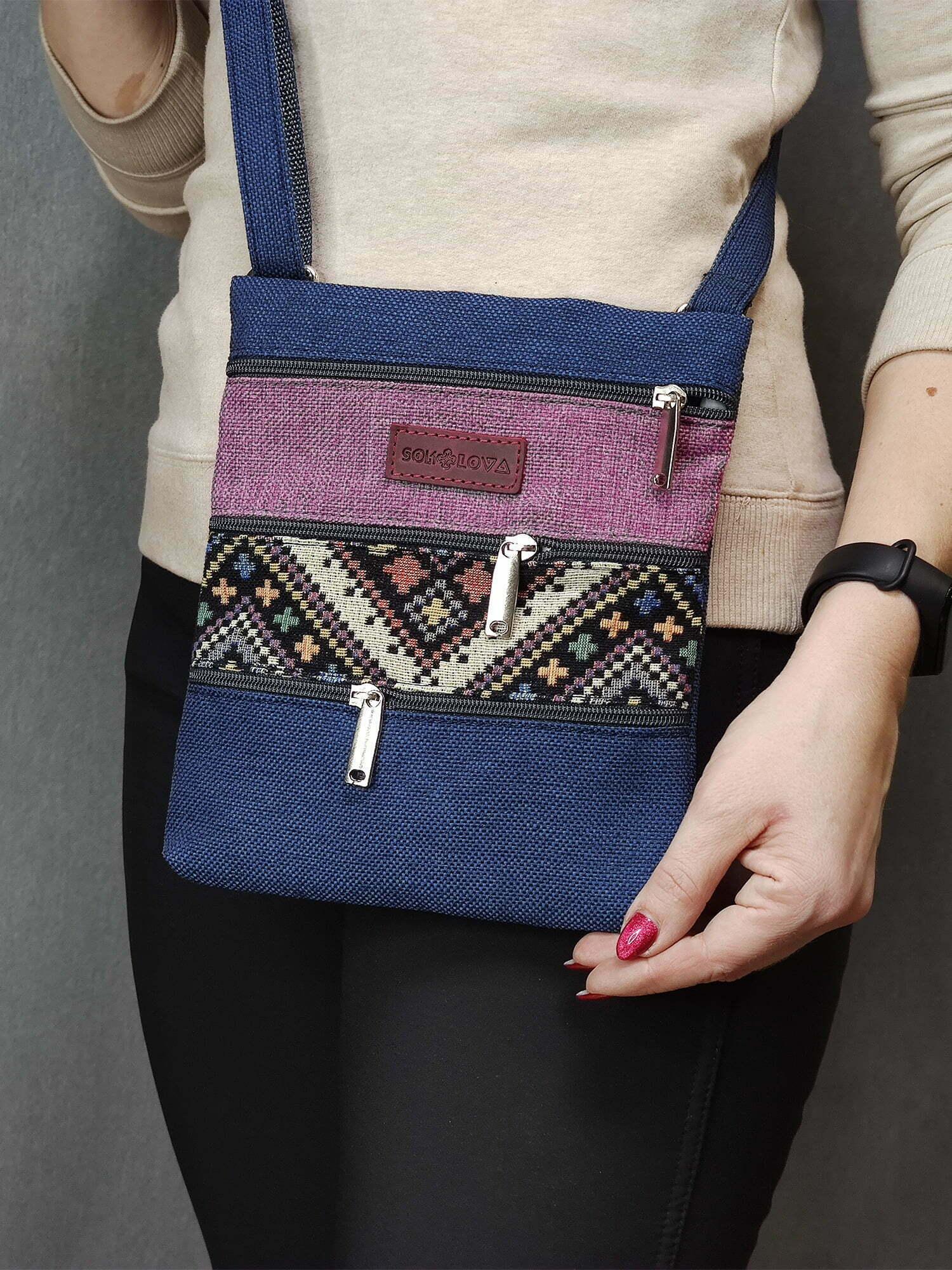 23012 Міні сумка 4 кишені (синя, темно рожева, орнамент)