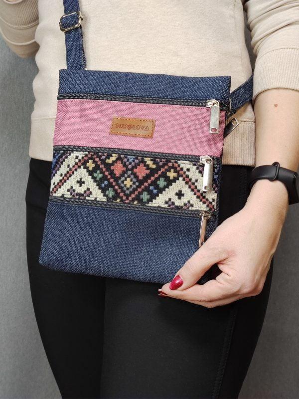 Міні сумка 4 кишені (синя, світло рожева, орнамент) (23013)