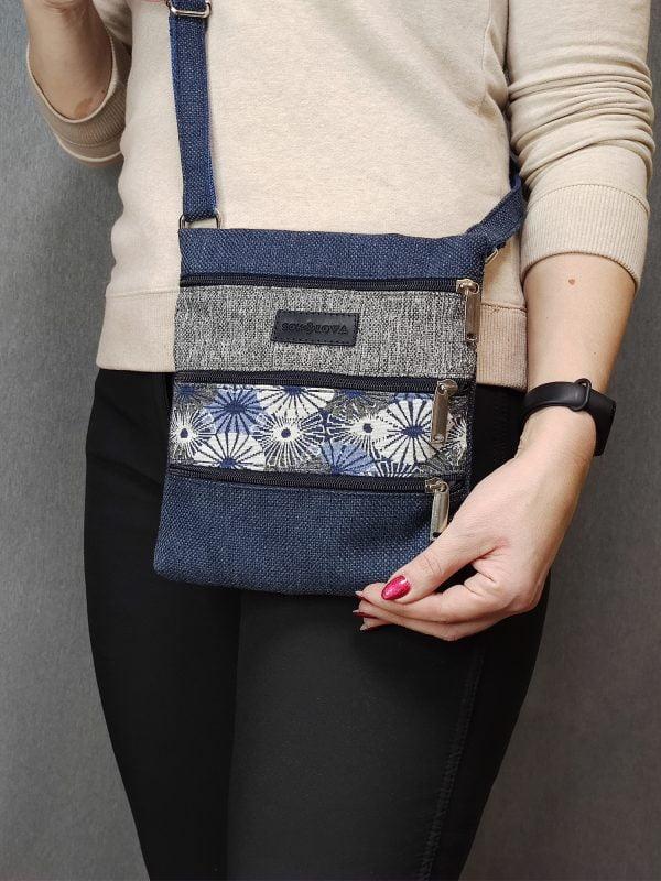 Міні сумка 4 кишені (синя та ромашки) (23014)