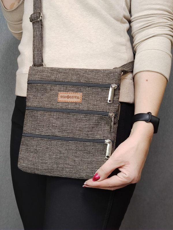 23015 Міні сумка 4 кишені (коричнева)