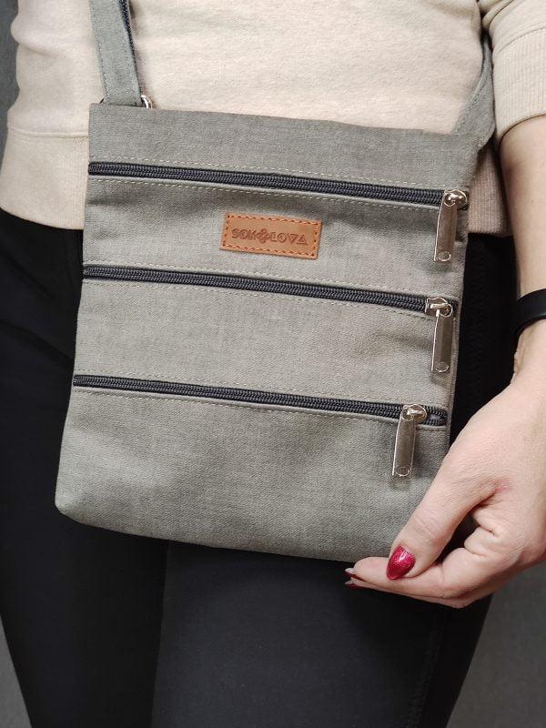 23017 Міні сумка 4 кишені (світло сіра)