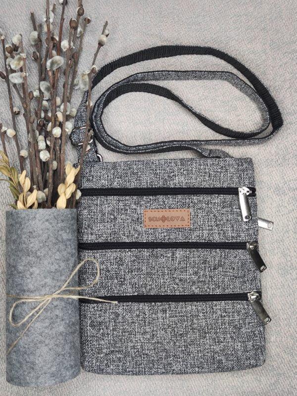 23018 Міні сумка 4 кишені (сірий меланж)