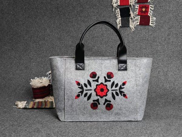 Велика фетрова сумка Червона квітка (13008)
