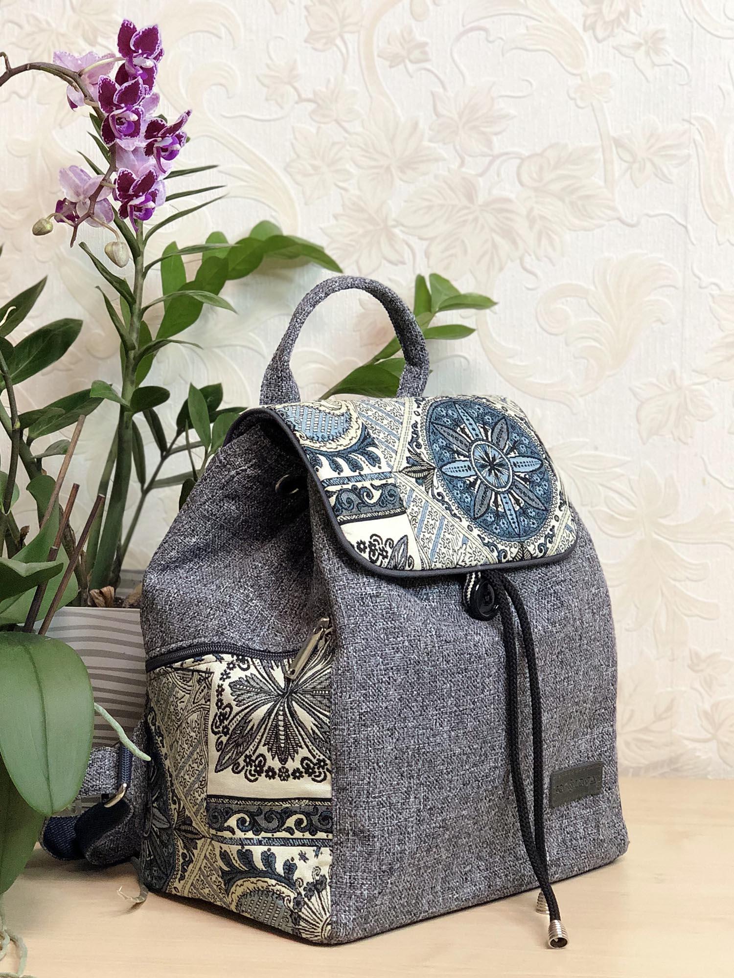Рюкзак великий сірий з флористичними мотивами (15027)