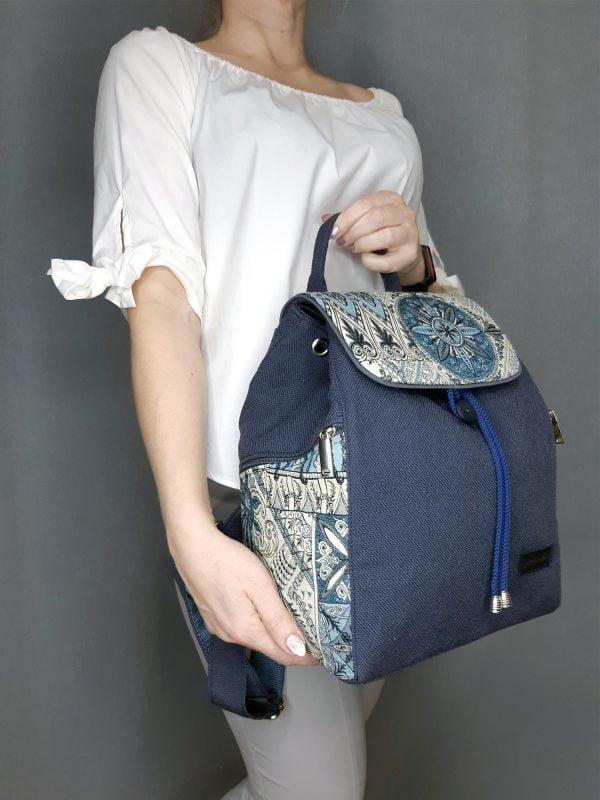 Рюкзак великий темно-синій з флористичними мотивами (15028)