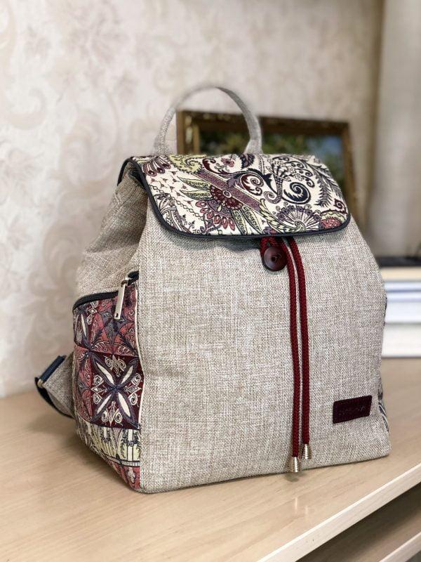 Рюкзак великий світлий з флористичними мотивами (15029)