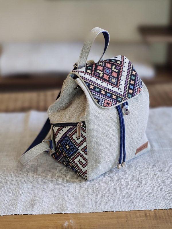 Рюкзак середній світлий з орнаментом (15033)