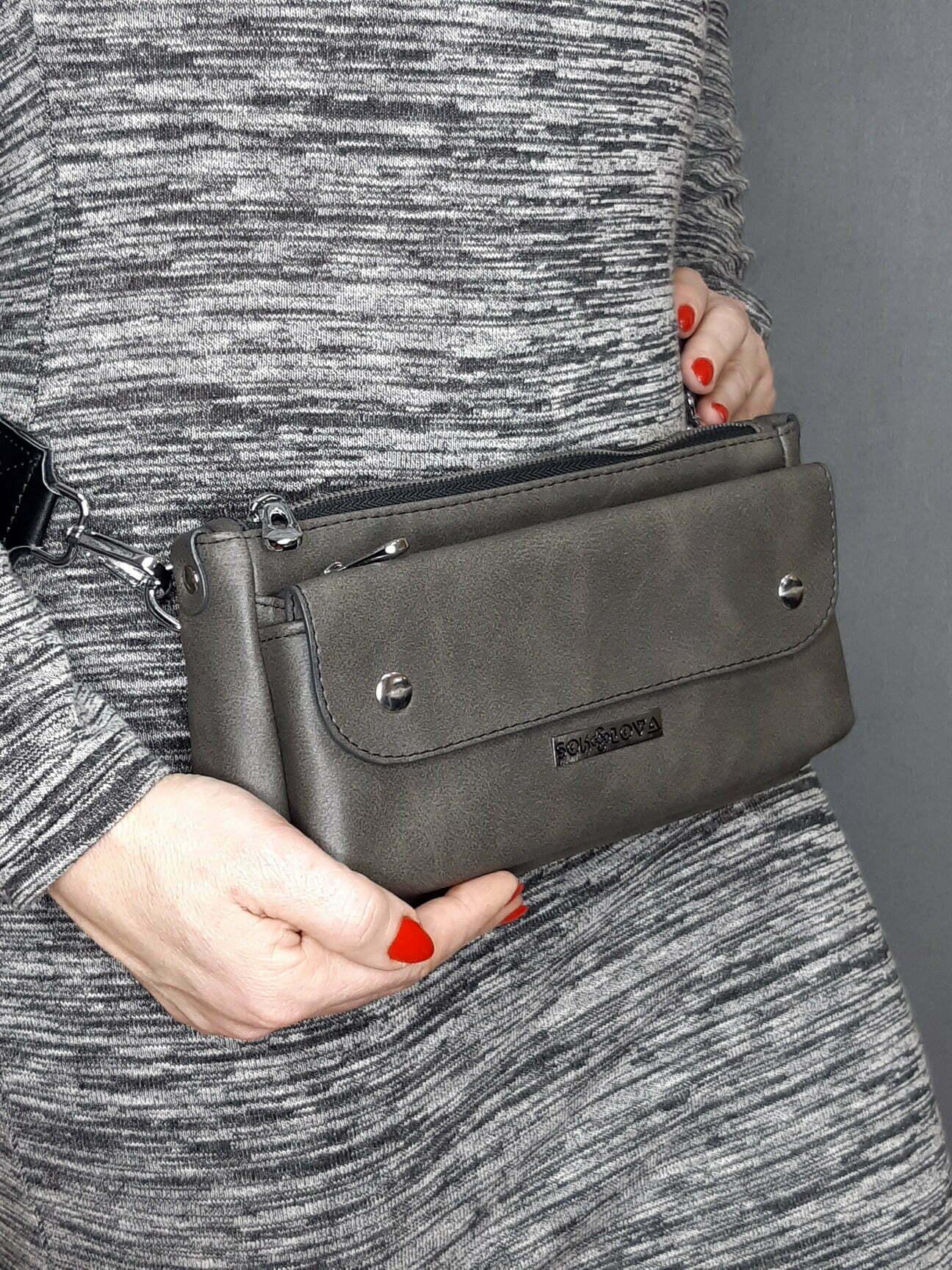 Поясна сумка сірого кольору (20001)