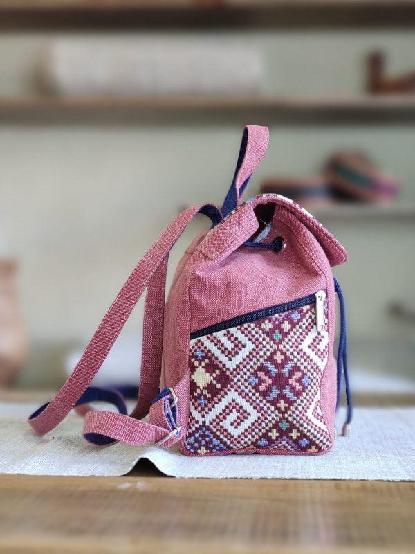 Рюкзак середній червоний з орнаментом (15034)