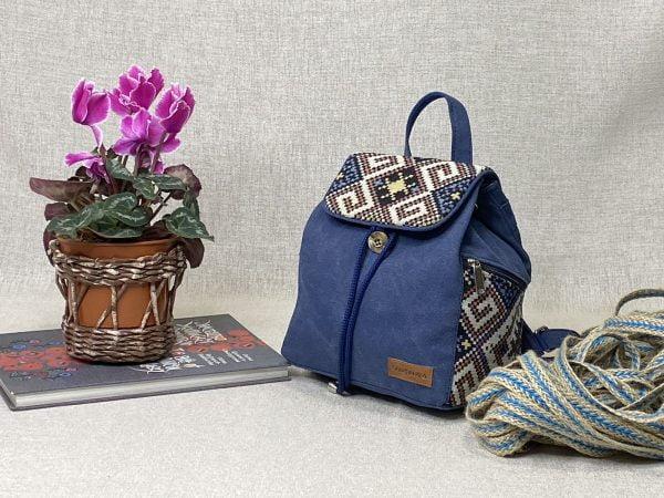 Рюкзак середній синій з декором орнамент (15036)