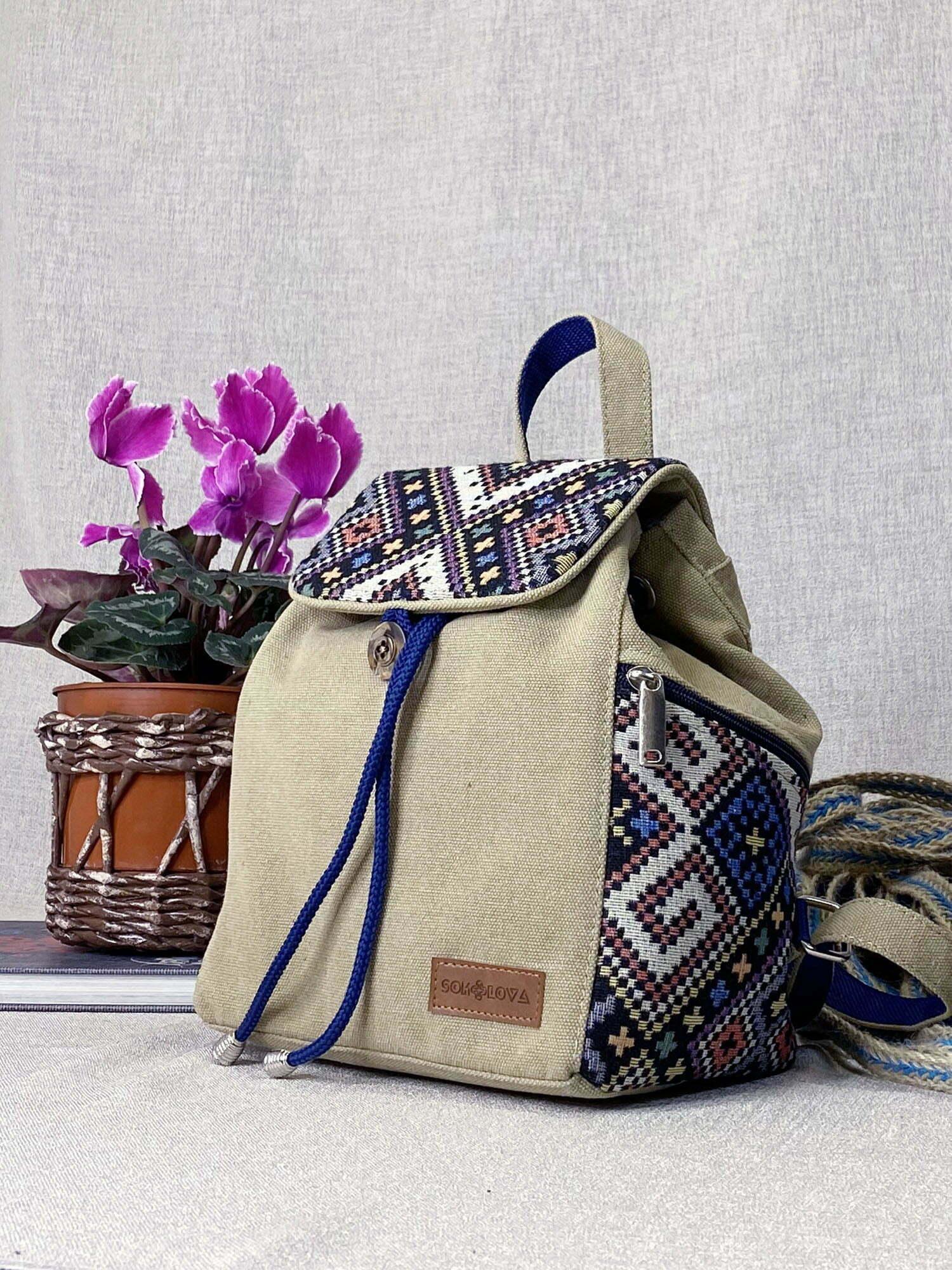Рюкзак середній колір пісок з декором орнамент (15037)
