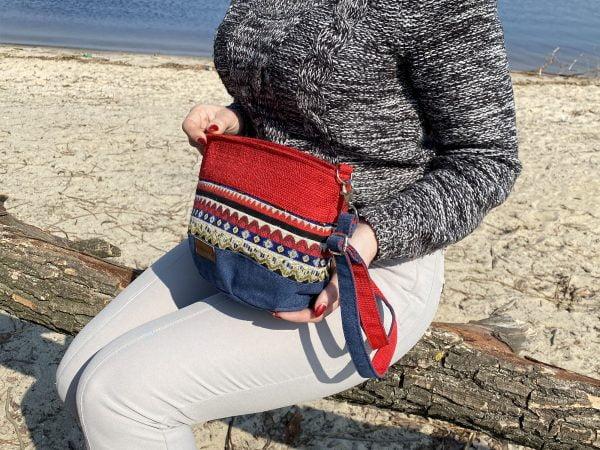 Маленька сумка з червоними хвилями (19107)