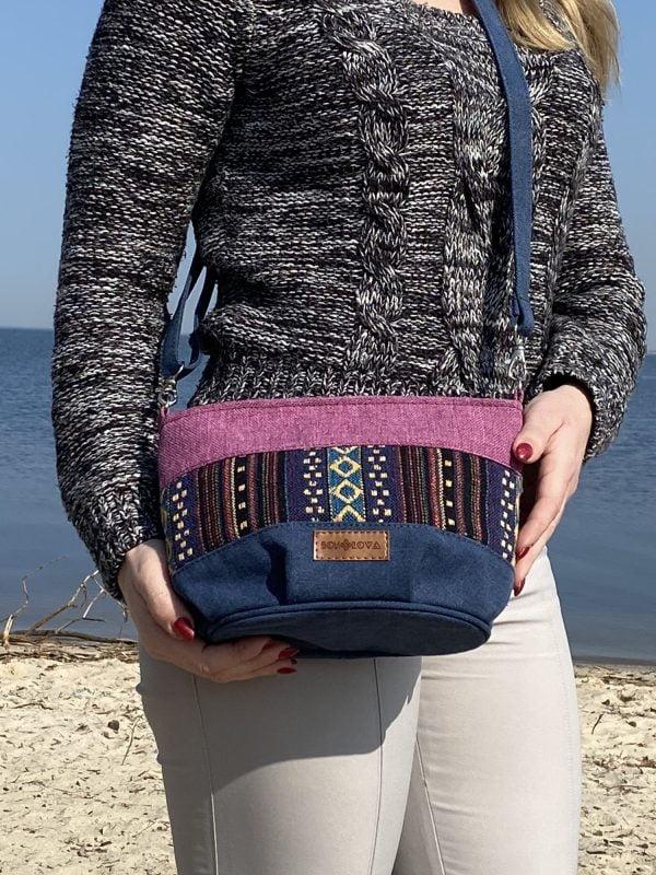 Маленька сумка фіолет та орнамент (19109)
