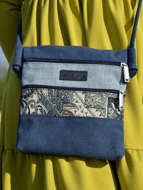 Сумка на три кишені синя з малюнком Туніс