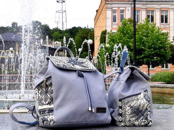 """Рюкзак великий колір сірий з декором """"Туніс"""" (15039)"""