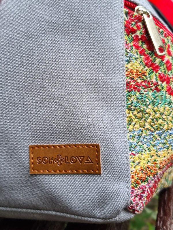 """Рюкзак середній колір пісок з декором """"Фіолетові квіти"""" (15041)"""